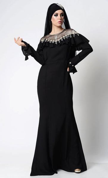 Elegant Beautful Embellished Black Abaya - EastEssence.com