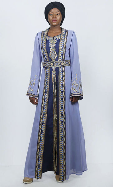Elegant Blue Embroidered Moroccan Ocassion Wear Abaya With Loose Belt - EastEssence.com