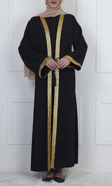 Elegant Golden Lace Stitched Bisht-Black - *Size Up* - EastEssence.com