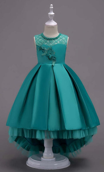Elegant Laced Girl's Dress (Green)-*Size Up* - EastEssence.com