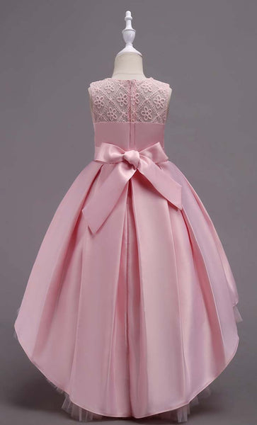 Elegant Laced Girl's Dress (Pink)-*Size Up* - EastEssence.com