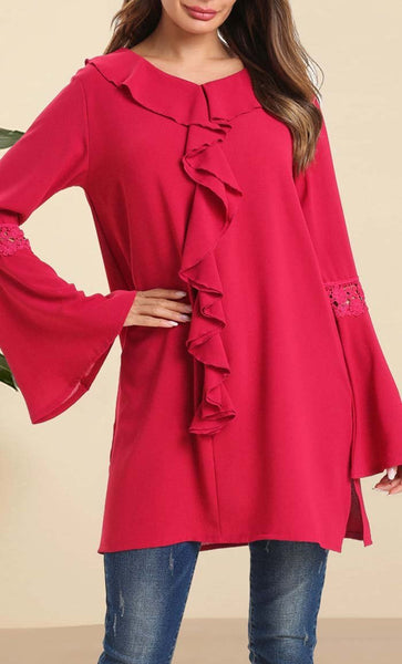 Elegant Pure Color Blouse - Red - EastEssence.com