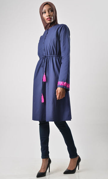 Elegant simple cotton drawstring tunic - EastEssence.com