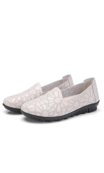Embroidered Flat Ballerina - Cream - *Size Up* - EastEssence.com