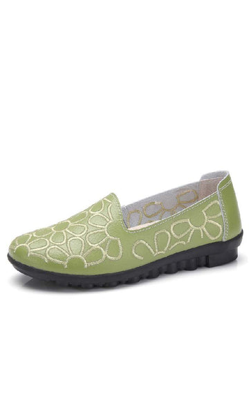 Embroidered Flat Ballerina - Green - *Size Up* - EastEssence.com