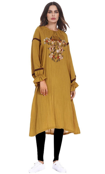 Embroidered Modest Mustard Long Tunic - *Size Up* - EastEssence.com