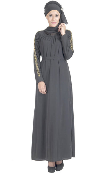 Embroidered sleeves detail double layered and flared abaya dress - EastEssence.com
