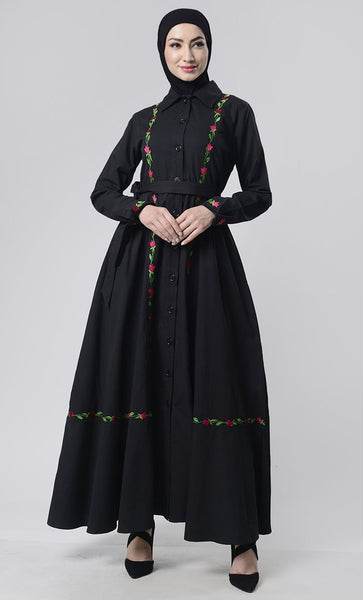 Embroidered Twill Abaya With Pockets - EastEssence.com