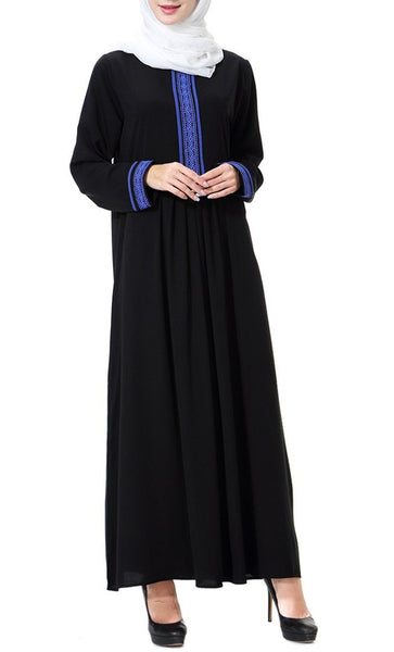 Embroidered Yoke Casual Abaya Dress - EastEssence.com