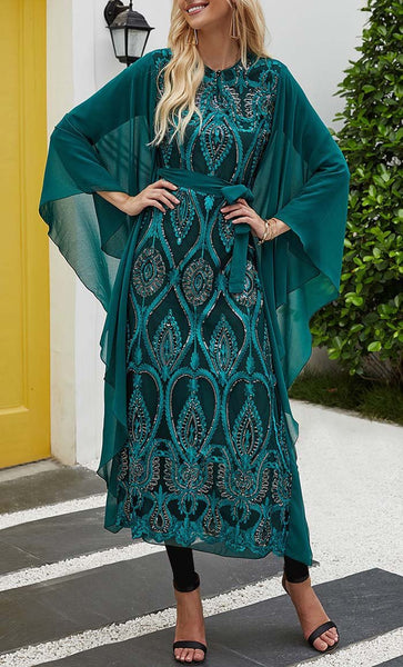 Emrald With Sequin Work Kaftan Tunic - *Size Up* - EastEssence.com