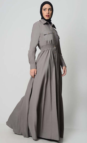 Everday Button Down Cotton Abaya - EastEssence.com