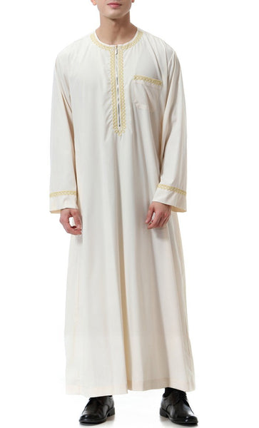Everyday Basic Full Sleeves Men's Thobe (Beige)-*Size Up* - EastEssence.com