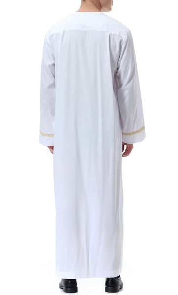 Everyday Basic Full Sleeves Men's Thobe (White)-*Size Up* - EastEssence.com