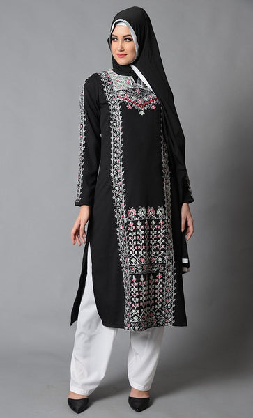 Everyday Embroidered Moss Crepe Salwar Kameez Set with White Pants - EastEssence.com