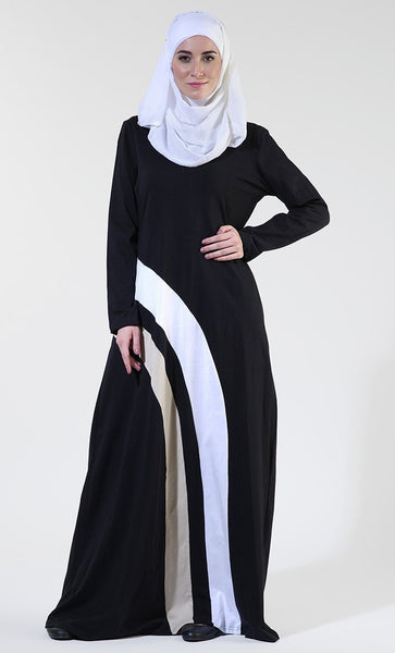 Everyday wear colorblock stripes detail casual abaya dress - EastEssence.com