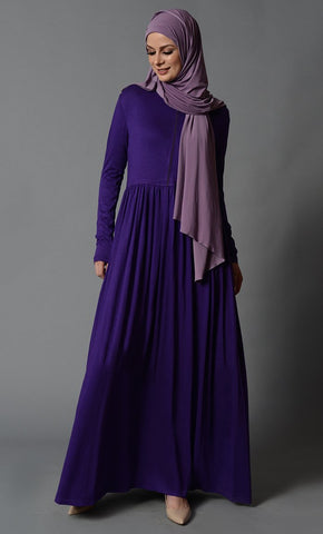 Everyday Wear Zipper Front Bodice Casual Abaya Dress - EastEssence.com