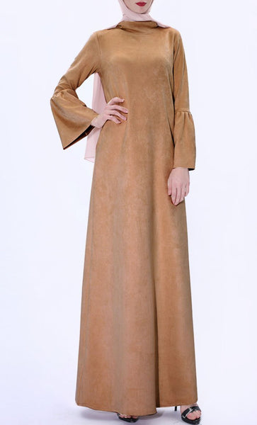 Fall Basic Turtle Neck Abaya-Brown - EastEssence.com