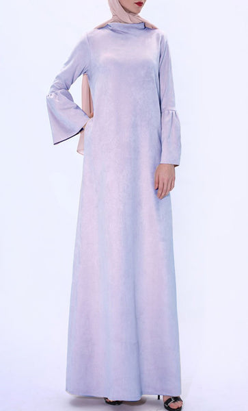 Fall Basic Turtle Neck Abaya-Lavender - EastEssence.com