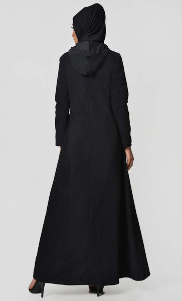 Fall Front Zipper corduroy Abaya Dress - EastEssence.com