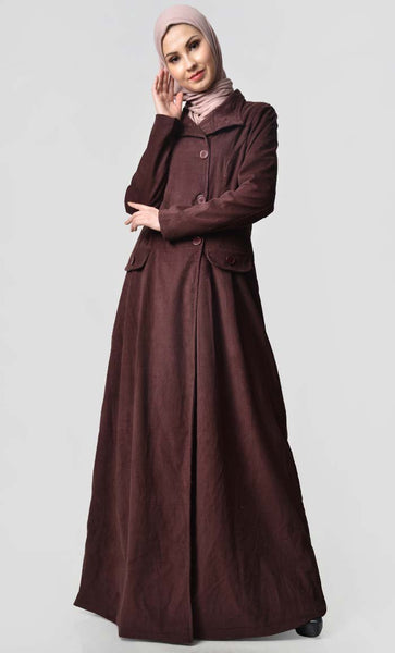 Fall Front Zipper corduroy Jilbab - EastEssence.com