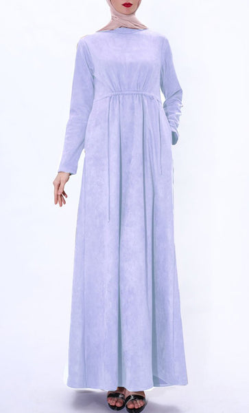 Fall Suede Winter Abaya-Lavender - EastEssence.com