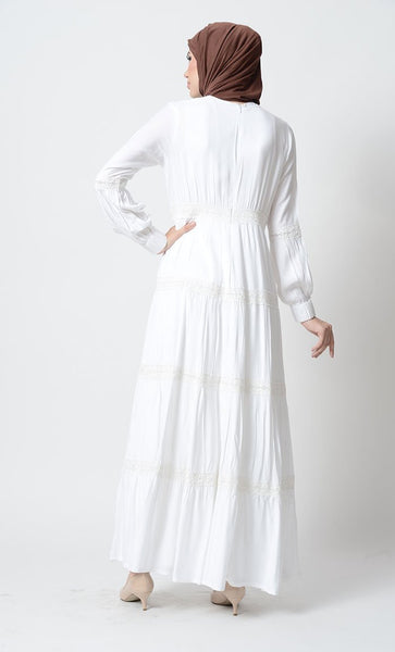 Fancy laced tiered Rayon Abaya Dress-White - EastEssence.com