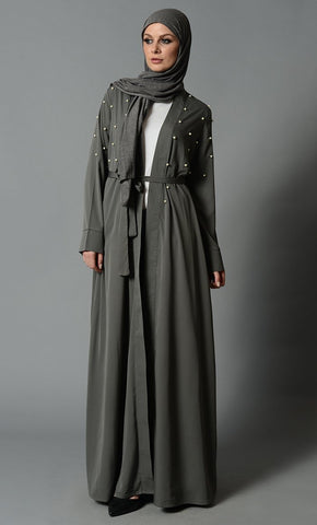 Fancy Pearl Detail Bisht with Fabric Tie - Dark Grey - EastEssence.com
