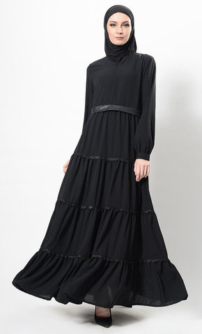 Faux Leather And Lace Work Multi Tiered Abaya Dress And Hijab Set - EastEssence.com