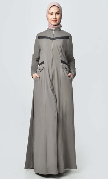 Faux Leather Detail Front Jersey Abaya-Gray - EastEssence.com