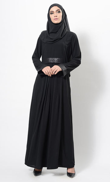 Faux Leather Detail Pleated And Flared Abaya Dress - EastEssence.com