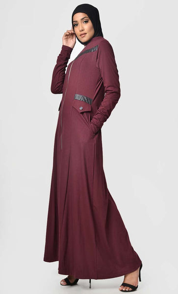 Faux Leather Front Detail Jersey Abaya-Maroon - EastEssence.com
