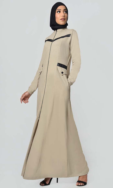 Faux Leather Front Detail Jersey Abaya-Sand - EastEssence.com