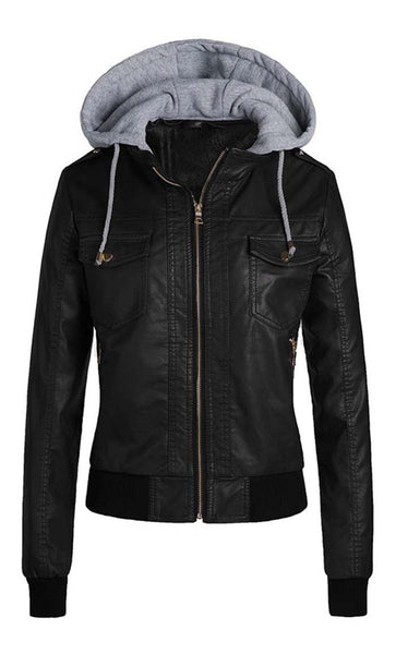 Faux Leather Solid Hoodie - Black - *Size Up* - EastEssence.com