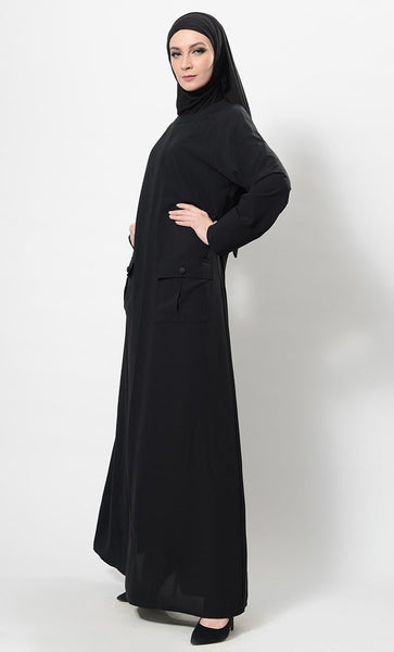 Flap Pockets Detail Simply Abaya Dress And Hijab Set - EastEssence.com