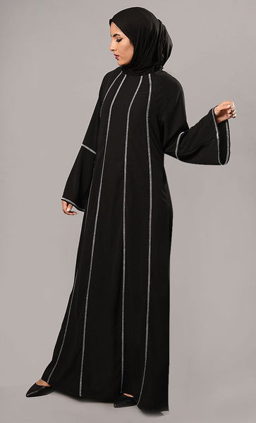Flared Sleeves Abaya Dress - EastEssence.com
