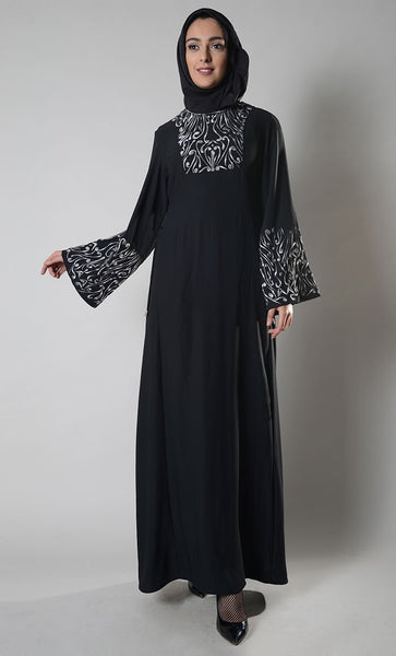 Flora And Fauna Embroidered Abaya Dress - EastEssence.com