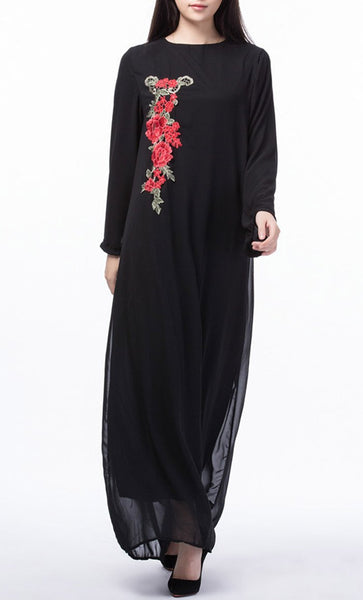 Floral Applique Long Everyday Tunic (Black)- *Size Up* - EastEssence.com