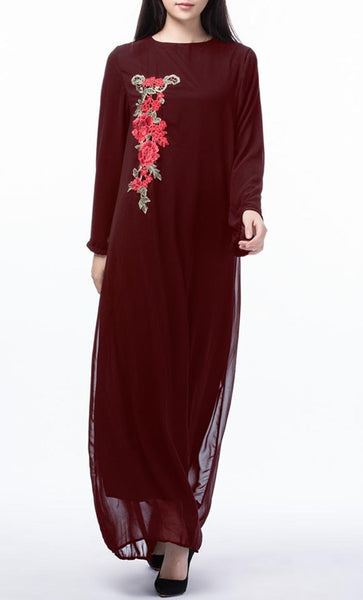 Floral Applique Long Everyday Tunic (Burgundy)- *Size Up* - EastEssence.com