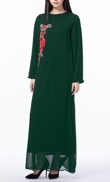 Floral Applique Long Everyday Tunic (Dark Green)- *Size Up* - EastEssence.com