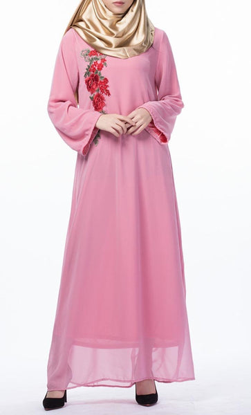 Floral Applique Long Everyday Tunic (Pink)- *Size Up* - EastEssence.com