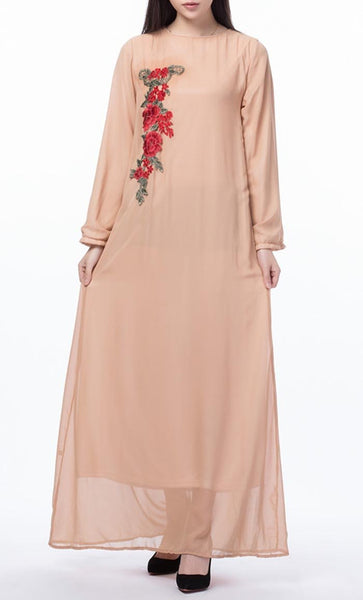 Floral Applique Long Everyday Tunic (Shrimp)- *Size Up* - EastEssence.com