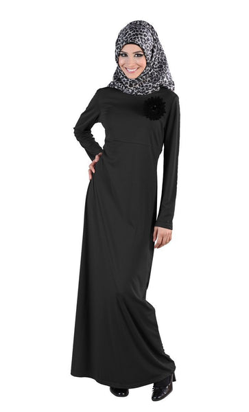 Floral Appliqued Motif Arabian Abaya Dress - EastEssence.com