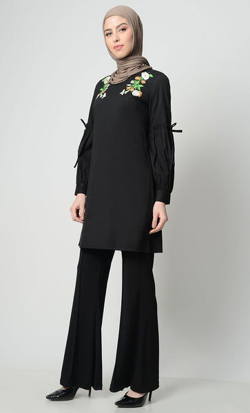 Floral Bunch Embroidered Tunic - EastEssence.com