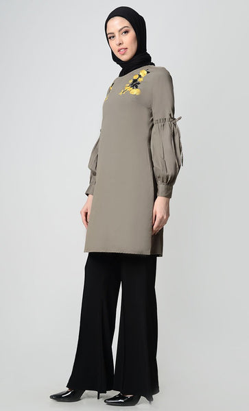 Floral Bunch Embroidred Tunic-Grey - EastEssence.com