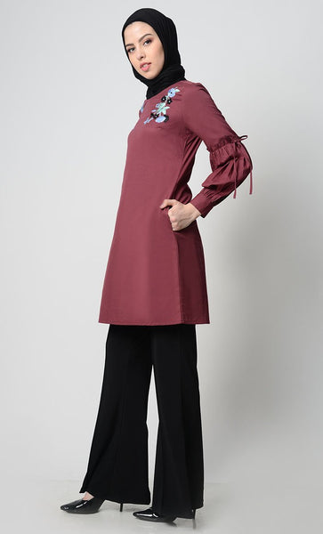 Floral Bunch Embroidred Tunic-Maroon - EastEssence.com