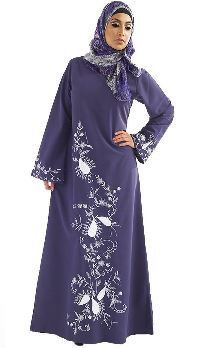 Floral Embroidered A Line Abaya Dress