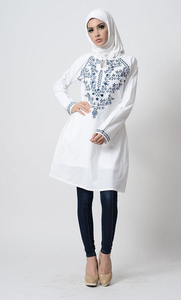 Floral Embroidered A Line Tunic - EastEssence.com