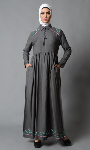 Floral Embroidered And Drawstring Detail Collared Abaya Dress - EastEssence.com