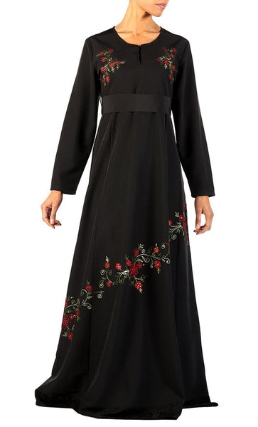 Floral embroidered and lace panel flared abaya dress - EastEssence.com