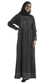 Floral embroidered and striped panels abaya dress - EastEssence.com